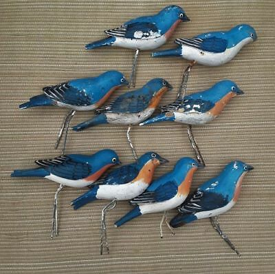 BAD BIRD BUNCH HP WOOD CARVED 9 BLUEBIRDS Over 30 years Old! NEED HELP & REPAIR