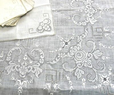 "Antq Italian Linen Banquet Tablecloth 10 Napkins 103"" Drawn Thread Lace, Embroid"