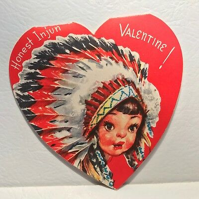 Vintage Valentine Card Indian Chief Heart  Cute!!