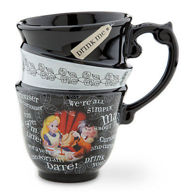 Disney Parks Alice in Wonderland Quotes Triple Stacked Ceramic Tea Cup Mug NEW