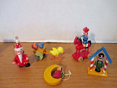 LOT OF 5 WOODEN TOY CHRISTMAS ORNAMENTS~Santa,Soldier,Horse,Angel,Duck & Cart