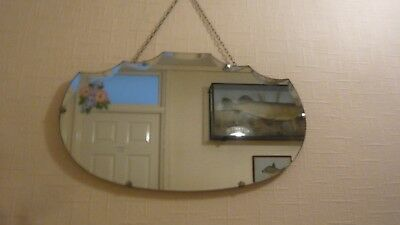 Vintage Art Deco Mirror with  flowers and original Hanging Chain