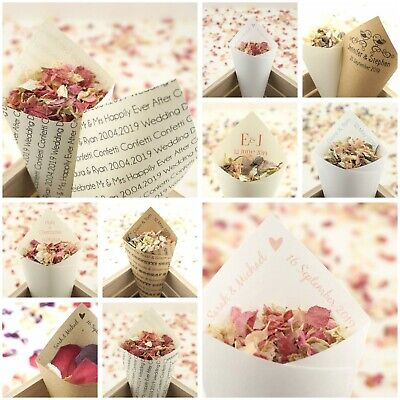 Handcrafted Personalised Wedding Confetti Cones - Regular or Large