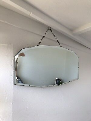 Vintage Mirror art deco beveled edged frameless wall mirror with Hanging chain