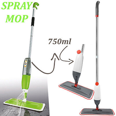 Spray Mop Water Spraying Floor Cleaner Tiles Marble Kitchen 750Ml Micro Fibre