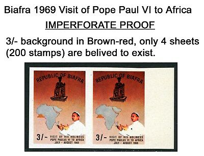 Biafra 1969 Mnh 3/- Brown-Red ***imperforate*** Visit Of Pope Paul Vi To Africa