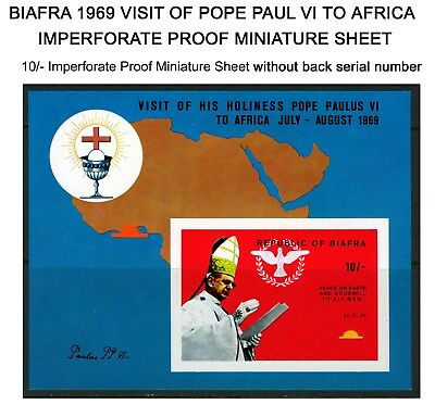 Biafra 1969 Mnh  ***imperforate*** M/sheet Visit Of Pope Paul Vi To Africa