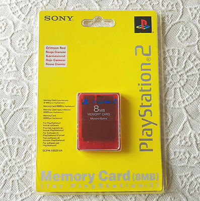 New & Sealed PS2 CRIMSON RED Memory Card 8MB Sony PlayStation 2 SCPH-10020 ER