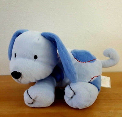 Just One Year Plush Blue Puppy Dog Blue Dots Red Stitches Collar Toy Rare