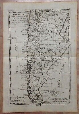 Chile Argentina 1780 Rigobert Bonne Antique Copper Engraved Map 18Th Century