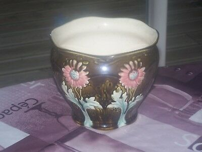 Ancien Cache Pot En Faience Fives Lille De Bruyn 4290  Decor Marguerites 1900