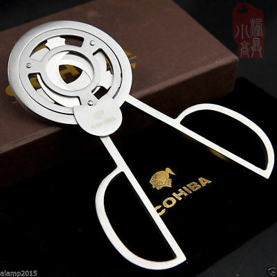 COHIBA Silver Stainless Steel Super Sharp Three blade  Personality Cigar Cutter