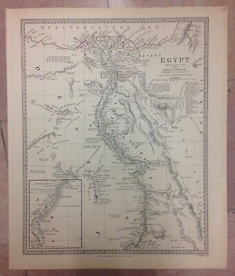 EGYPT DATED 1831 BY WALKER LARGE COPPER ENGRAVED MAP XIXe CENTURY
