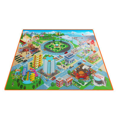 Kids Carpet Crawling Rug Educational Road Traffic Route Map Play Mat For Toddler
