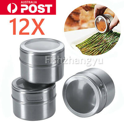 NEW 12Pcs Spice Tin Stainless Steel Storage Container Jar Clear Lid Set BO OZ