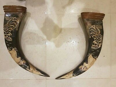 Chinese Carved Water Buffalo Horns