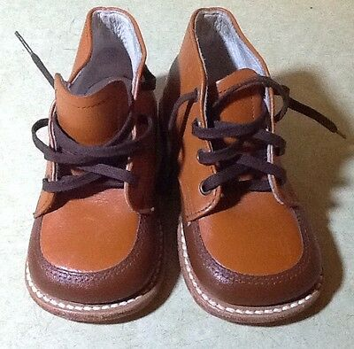 1ee210aa83d4f6 Vintage Baby Shoes Child Life Leather High Top Lace 2 Tone Brown Leather