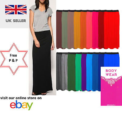 Women's Ladies Gypsy Long Jersey Bodycon Maxi Dress Skirt Ladies Skirt