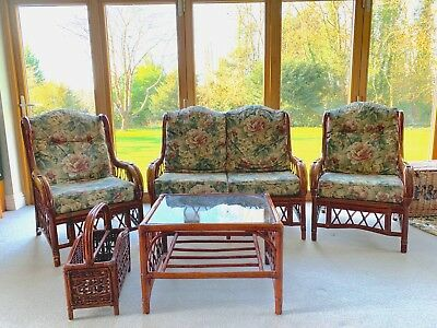 Conservatory furniture 5 piece Suite: 2 Armchairs, 2-seater Sofa, table & rack