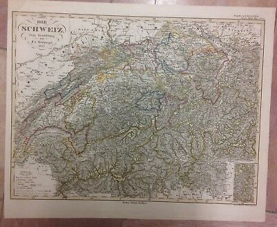 SWISS DATED 1855 BY STULPNAGEL LARGE COPPER ENGRAVED MAP XIXe CENTURY