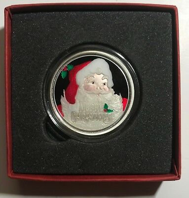 SANTA CLAUS & BOW BOX - 2018 CHRISTMAS 1 oz. - .999 FINE SILVER ROUND