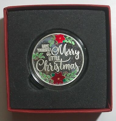 MERRY CHRISTMAS & BOW BOX - 2018 CHRISTMAS 1 oz. - .999 FINE SILVER ROUND