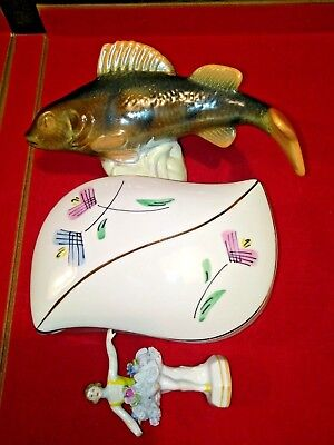 Offer: Sale Porcelain Lot  Fish, Trinket Dish, Vtg Balerina /broken Arm And Leg/