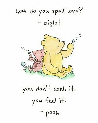 WINNIE THE POOH Inspirational Quote Friends Valentine Art Unframed Chic Print