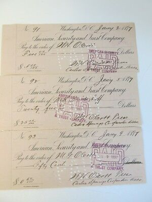 Collection of [17] 1897 Checks Signed by Carlin Springs Cooperative
