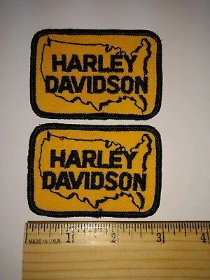 1 SET (2 each)  Vintage 1980's Harley Davidson Sew-On USA Embroidered Patches
