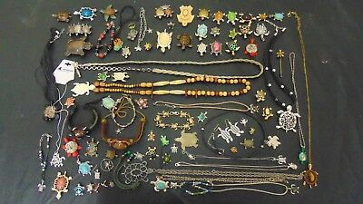 Awesome 85 Piece Lot of Turtle Jewelry Adventure Aquarium Pendants Brooches MORE
