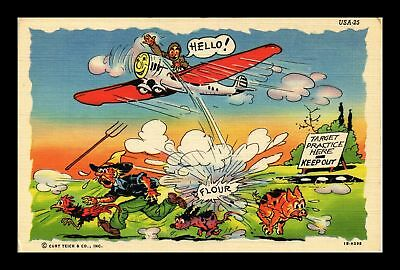 Dr Jim Stamps Us Comic Target Practice Here Flour Linen Topical Postcard