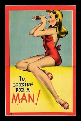 Dr Jim Stamps Us Comic Woman Looking For A Man Linen Topical Postcard