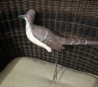 Vintage Hand Painted WOOD CARVED ROADRUNNER Over 30 years old! Made in Fla. BIG
