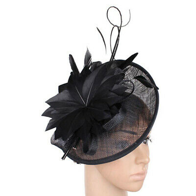 20s Sinamay Fascinator Headband Ascot Races Feather Derby Hat Tea Party