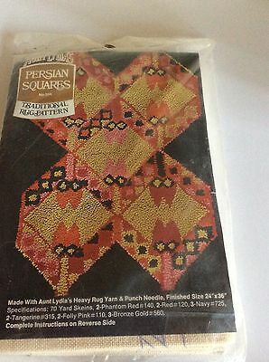 Aunt Lydia's Persian Squares Traditional Rug Pattern on Canvas Punch Needle VGC