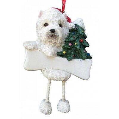 West Highland Terrier Westie Dangling Wobbly Leg Dog Bone Christmas Ornament