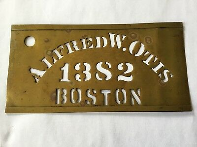 "SUPER NICE ANTIQUE BRASS STENCIL, ""ALFRED W. OTIS"" BOSTON 3 "" in. X 6"" in."