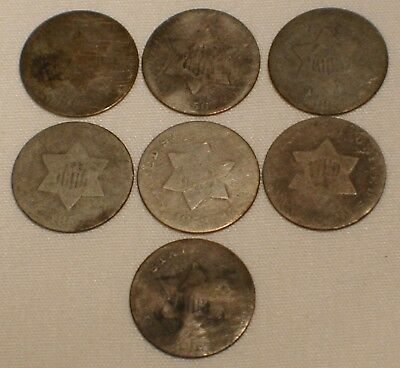 Lot of 7 Three Cent Silver Coin Dated 1853 1856 1858 185? No Date 3 Cent Silver
