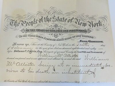 1880 Antique Last Will and Testament New York, NY