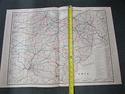 "1891 Railway System MAP of OHIO, hand-tinted, approx  17-12"" x 25-1/4"" Beautiful"