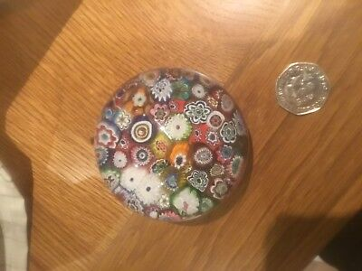 Vintage Glass Paperweight Milliflori Flowers