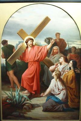 LARGE FINE 19th CENTURY CHRIST WITH THE CROSS Old Master Antique OIL Painting