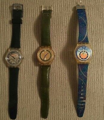 Job Lot Of 3 Vintage Swatch Watches For Spares/repair