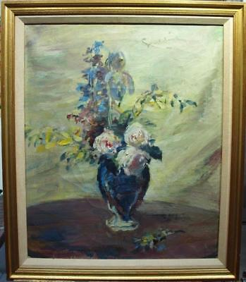 LARGE 19/20th Century FRENCH IMPRESSIONIST Still Life Vase Antique Oil Painting