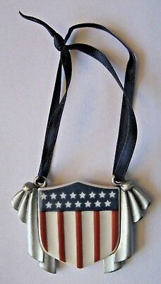 Longaberger ALL AMERICAN TIE-ON Flag Shield USA Stars & Stripes Enamel & Pewter
