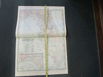 1891 Railway System Railroad MAP of FLORIDA, hand-tinted, beautiful!  VG++