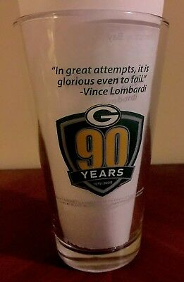 1919-2009 GREEN BAY PACKERS MILLER LITE BEER Glass Pint Vtg 90 Years Anniversary