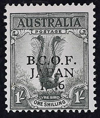 1946 Australia 1/- Grey green Lyre Bird stamp B.C.O.F. JAPAN 1946 Overprint MUH