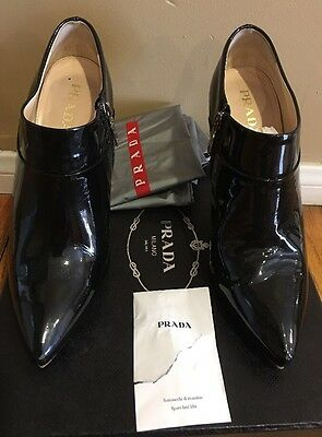 8b3c34205898 PRADA SIZE 7.5 Black Textured Patent Leather Pointed Kitten Heel ...